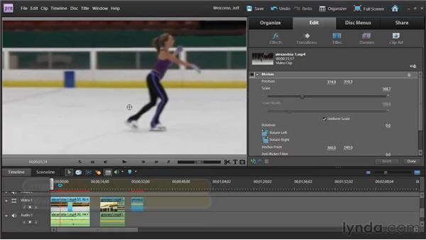 Repositioning, scaling, and rotating clips with the Motion effect: Premiere Elements 9 Essential Training