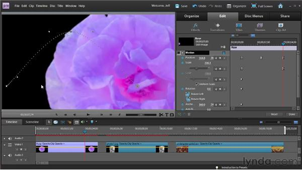 Controlling changes between keyframes: Premiere Elements 9 Essential Training