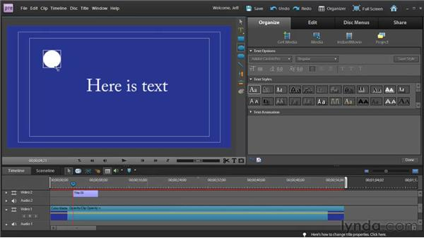 Creating text and geometric shapes: Premiere Elements 9 Essential Training
