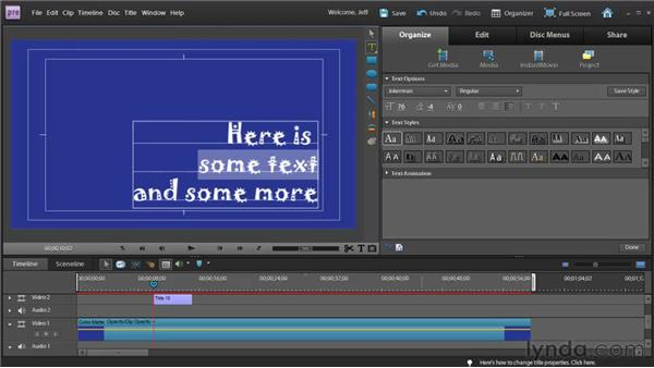 Editing and formatting text and shapes: Premiere Elements 9 Essential Training