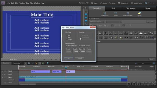 Animating titles: Premiere Elements 9 Essential Training