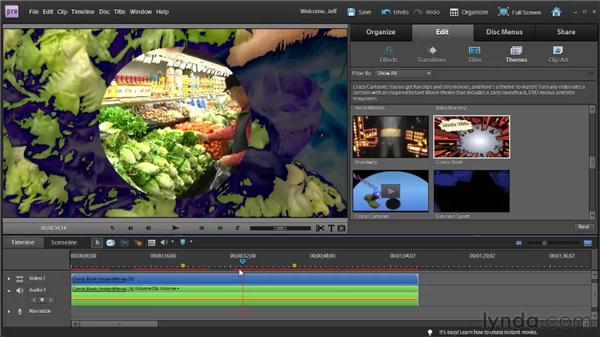 Using InstantMovie and themes: Premiere Elements 9 Essential Training