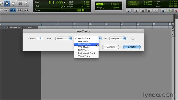 Creating new tracks: Pro Tools 9 Essential Training