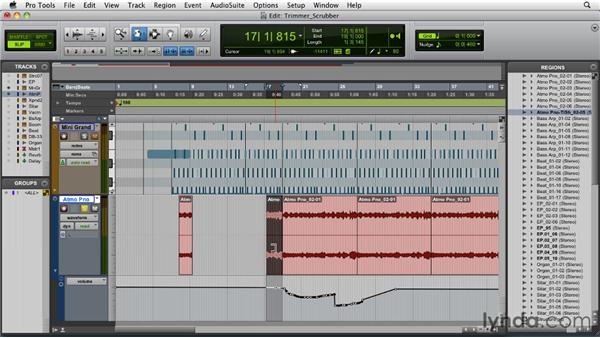 Using the Trimmer and Scrubber tools: Pro Tools 9 Essential Training