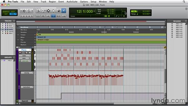 Using the edit tools for editing MIDI data : Pro Tools 9 Essential Training