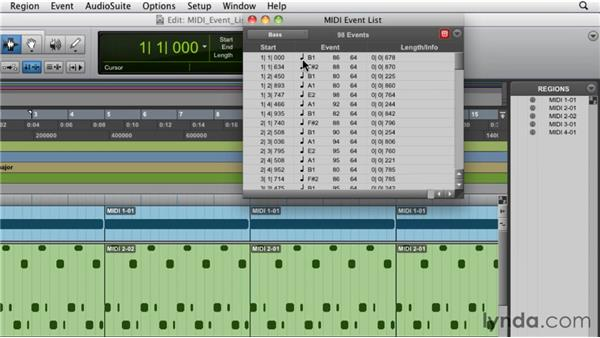 Working with the MIDI event list: Pro Tools 9 Essential Training
