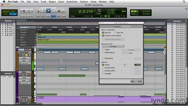 Quantizing MIDI tracks: Pro Tools 9 Essential Training
