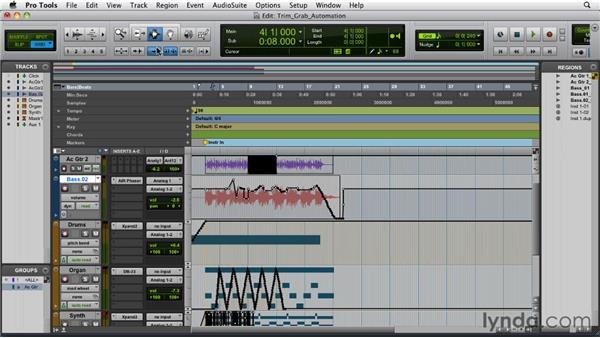 Editing automation with the Trimmer and Grabber tools: Pro Tools 9 Essential Training