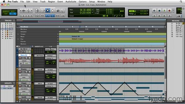 Cutting, copying, pasting, and clearing automation: Pro Tools 9 Essential Training