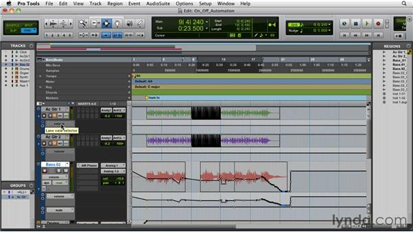 Turning automation on and off: Pro Tools 9 Essential Training