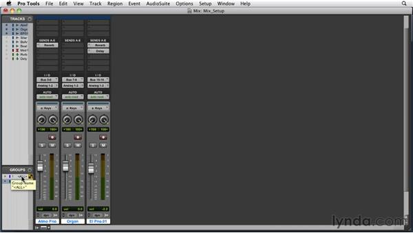 Setting up a session for mixing: Pro Tools 9 Essential Training