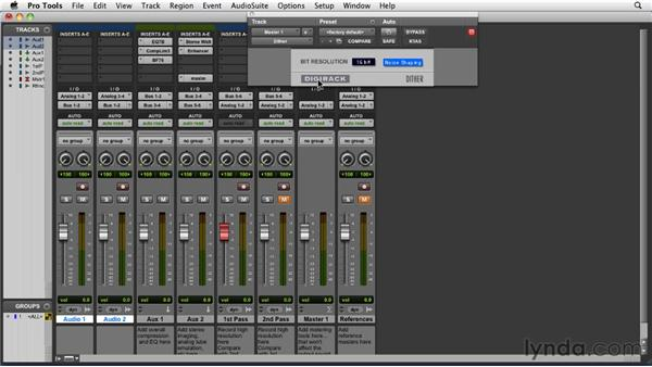 Bouncing down master recordings with Dither and Noise Shaping: Pro Tools 9 Essential Training