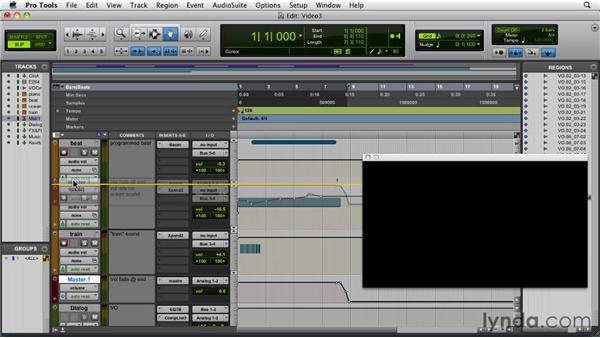 Bouncing down video and audio together: Pro Tools 9 Essential Training