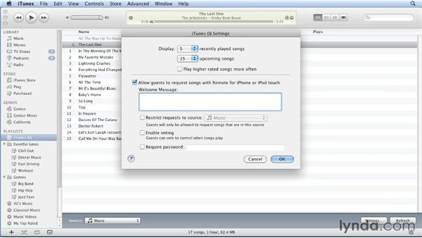 Using iTunes DJ for party playlists: iTunes 10 Essential Training