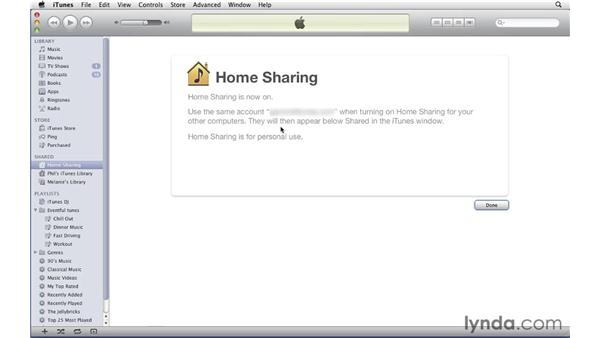 Turning on home sharing: iTunes 10 Essential Training
