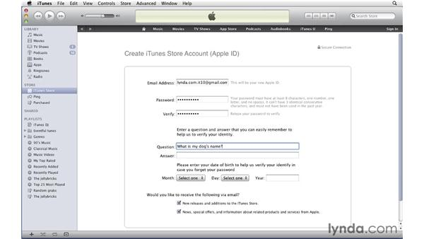 Creating an account: iTunes 10 Essential Training