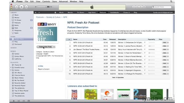Finding and subscribing to podcasts: iTunes 10 Essential Training