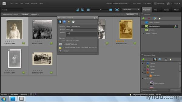 Adding captions and notes: Photoshop Elements 9: Scanning and Restoring Photos