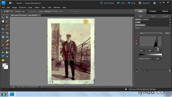 Using Levels: Photoshop Elements 9: Scanning and Restoring Photos