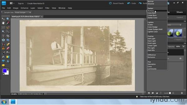 Darkening images with blend modes: Photoshop Elements 9: Scanning and Restoring Photos
