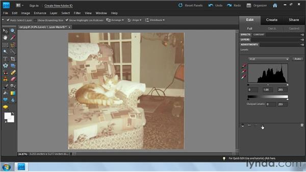Using Levels to fix color : Photoshop Elements 9: Scanning and Restoring Photos