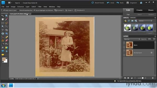 Correcting color automatically with Enhance: Photoshop Elements 9: Scanning and Restoring Photos