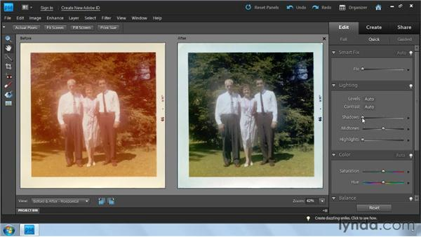 Using Quick Fix for color: Photoshop Elements 9: Scanning and Restoring Photos