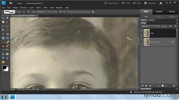 Using the Clone Stamp tool: Photoshop Elements 9: Scanning and Restoring Photos