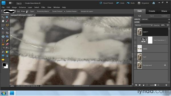 Repairing large tears: Photoshop Elements 9: Scanning and Restoring Photos