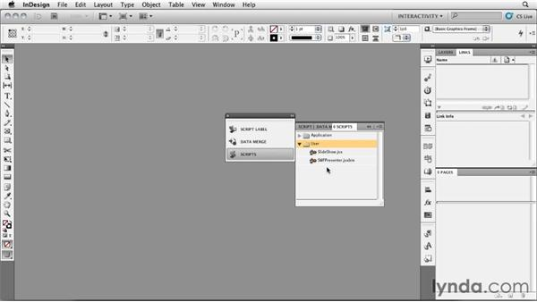 Installing scripts: InDesign CS5: Interactive Documents and Presentations