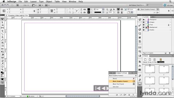 Creating a title and content slides: InDesign CS5: Interactive Documents and Presentations