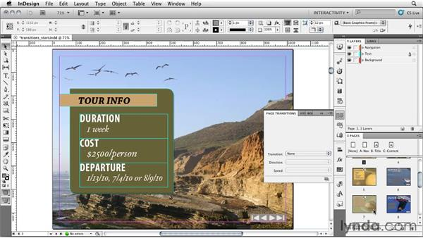 Setting page transitions: InDesign CS5: Interactive Documents and Presentations