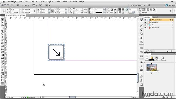 Adding a Full Screen button with a tool tip: InDesign CS5: Interactive Documents and Presentations