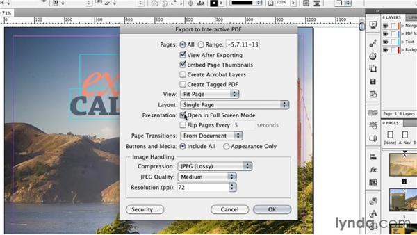 Exporting your presentation to interactive PDF: InDesign CS5: Interactive Documents and Presentations