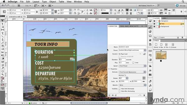 Using the Animation panel: InDesign CS5: Interactive Documents and Presentations
