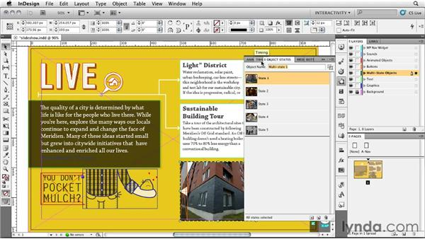 Creating a slideshow with a multistate object: InDesign CS5: Interactive Documents and Presentations