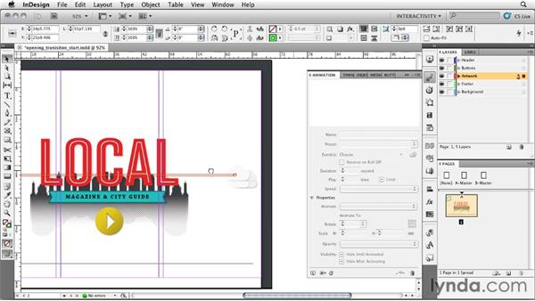 Creating the opening transition: InDesign CS5: Interactive Documents and Presentations