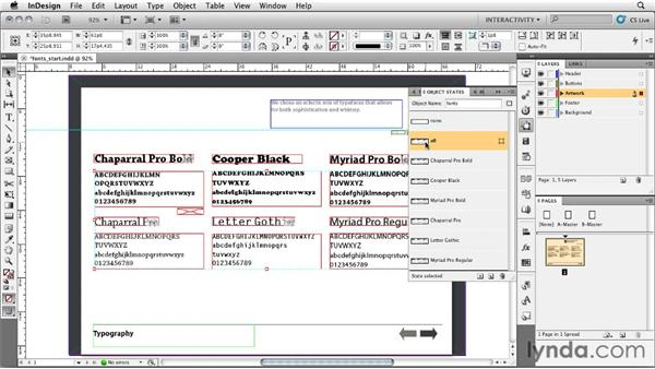 Combining multistate objects and buttons: InDesign CS5: Interactive Documents and Presentations