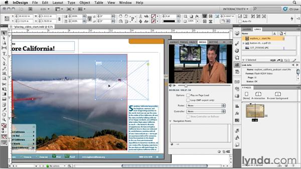 Placing a video and using the Media panel: InDesign CS5: Interactive Documents and Presentations