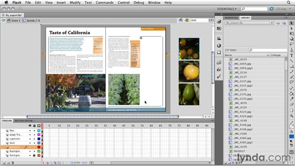 Opening the FLA file in Flash CS5 Professional: InDesign CS5: Interactive Documents and Presentations