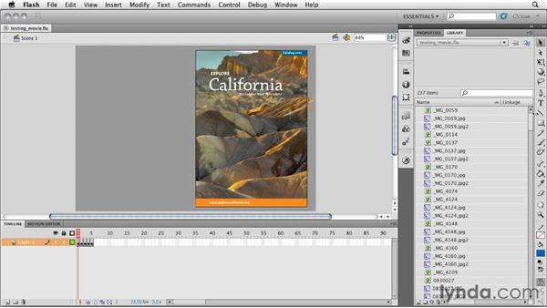 Adding a stop command and testing the movie: InDesign CS5: Interactive Documents and Presentations