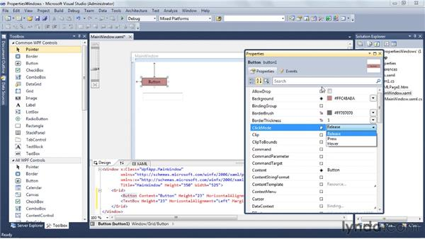 Working with the Properties window: Visual Studio 2010 Essential Training