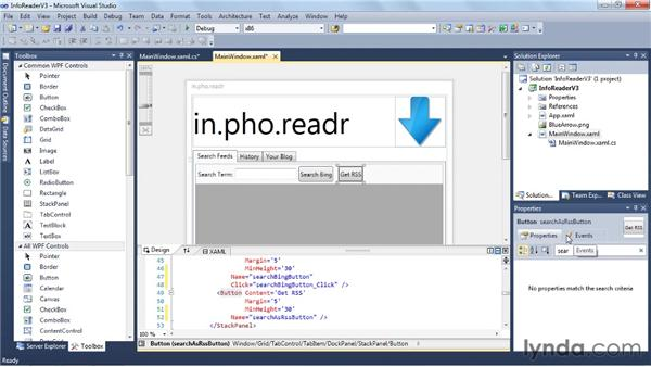 Working with the application code: Visual Studio 2010 Essential Training