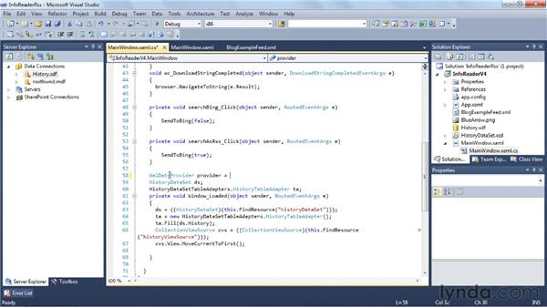 Binding to an RSS feed: Visual Studio 2010 Essential Training