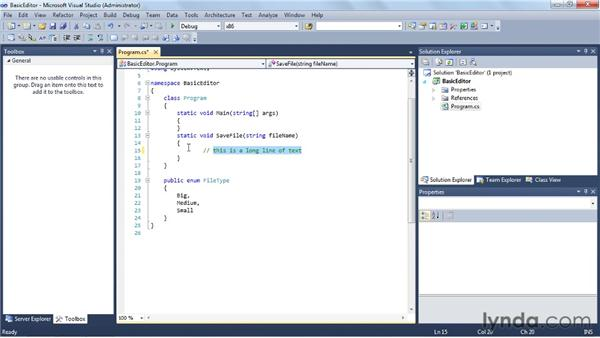 Exploring basic settings for the Code Editor: Visual Studio 2010 Essential Training