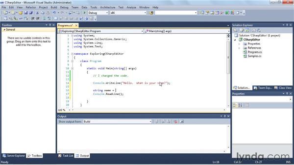 Writing a C# program: Visual Studio 2010 Essential Training