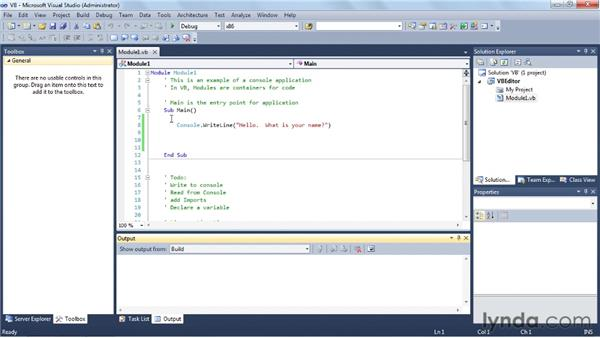 Writing a VB program: Visual Studio 2010 Essential Training
