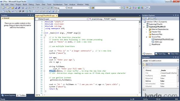 Working with C++: Visual Studio 2010 Essential Training