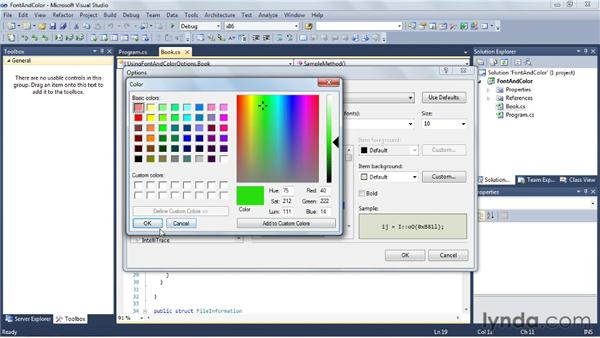 Font and color options: Visual Studio 2010 Essential Training