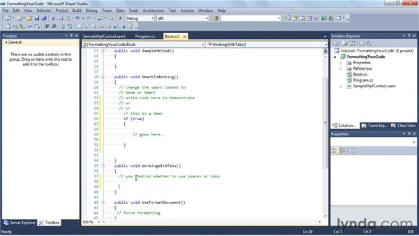 Formatting your code: Visual Studio 2010 Essential Training